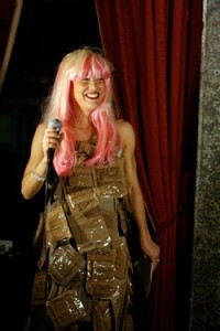 Laura Westley does a great Lady GaGa impression, wearing a dress of MREs
